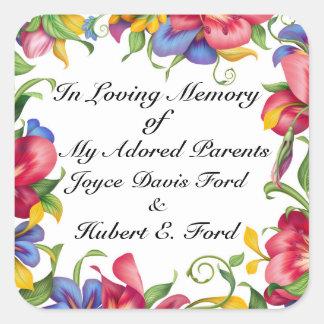 Bookplate, en Memoriam, donación Pegatina Cuadrada