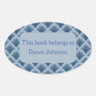 Bookplate escalado azul pegatina ovalada