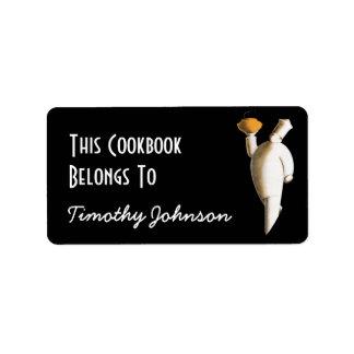 Bookplate Ex Libris Name Chef Cookbook Belongs To Address Label
