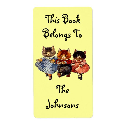 Bookplate Family of Kittens Cats Names Book Labels