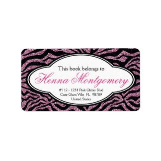 Bookplate femenino lindo de la cebra del ROSA de l Etiquetas De Dirección