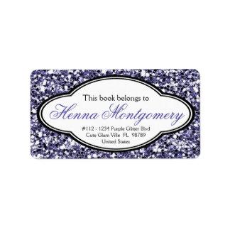 Bookplate femenino lindo de la púrpura de la mirad etiqueta de dirección