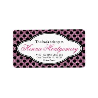 Bookplate femenino lindo del polkadot del ROSA de  Etiquetas De Dirección