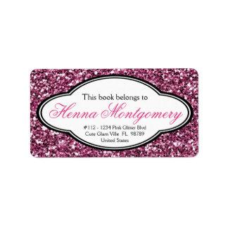 Bookplate femenino lindo del ROSA de la mirada del Etiquetas De Dirección
