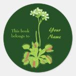 Bookplate floral del atrapamoscas de Venus Pegatinas Redondas