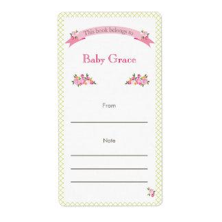 Bookplate floral del verde y del rosa etiquetas de envío
