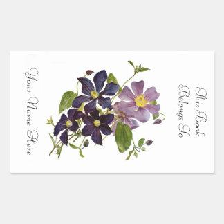 Bookplate floral pegatina rectangular