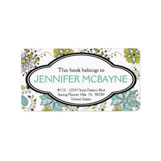 Bookplate floral personalizado de la primavera fem etiquetas de dirección