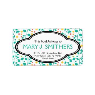 Bookplate floral personalizado de las señoras de etiqueta de dirección
