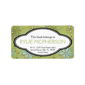 Bookplate floral personalizado del verde femenino  etiqueta de dirección