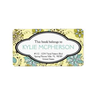 Bookplate floral personalizado del verde femenino  etiquetas de dirección