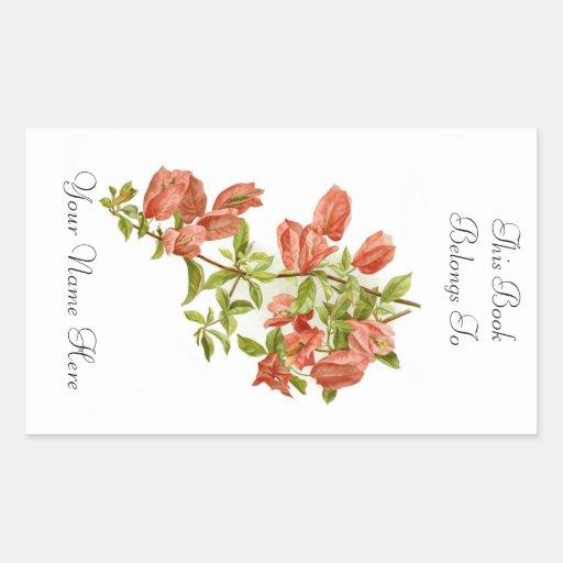 Bookplate floral rectangular pegatinas
