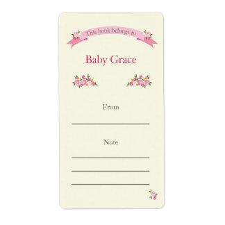 Bookplate floral rosado etiqueta de envío