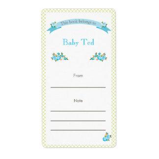 Bookplate floral verde y azul etiquetas de envío