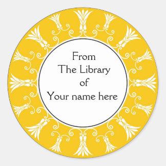 Bookplate - flores amarillas del Flourish Pegatina Redonda