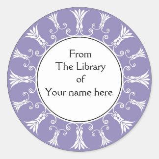 Bookplate - flores púrpuras del Flourish Etiqueta Redonda