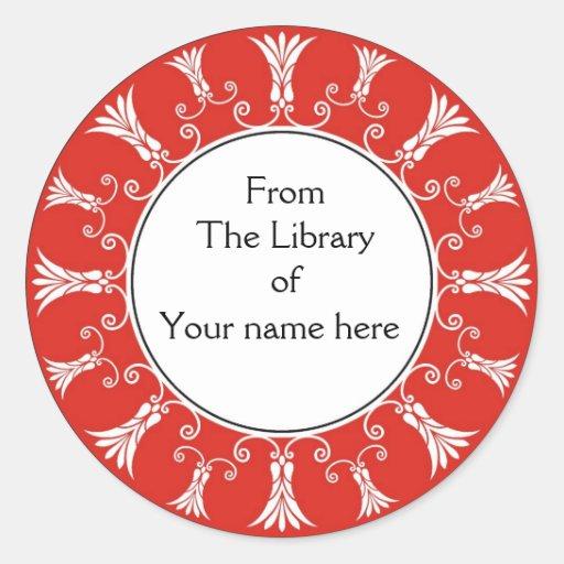 Bookplate - flores rojas del Flourish Pegatina Redonda