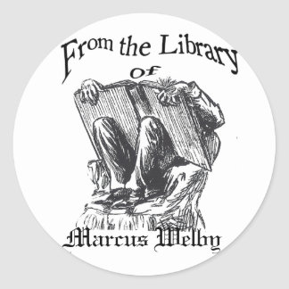 bookplate from the library creepy guy, Marcus W... Classic Round Sticker