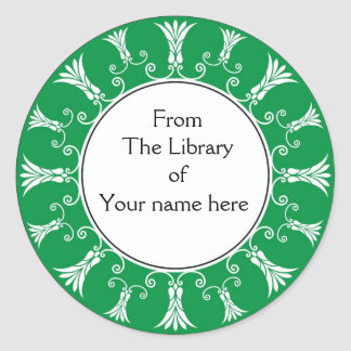 Bookplate - Green Flourish Flowers Round Stickers