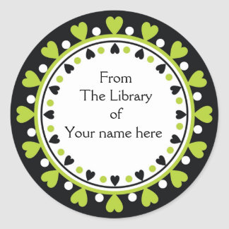 Bookplate - Green Hearts white Polka Dots Round Sticker