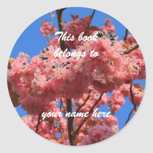 bookplate japanese cherry blossoms sticker