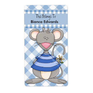 Bookplate Label Teens Kids Book Blue Mouse Check