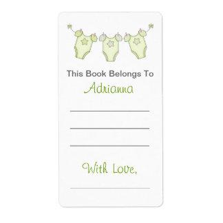 Bookplate lindo de la fiesta de bienvenida al bebé etiqueta de envío