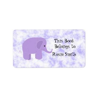 Bookplate lindo del elefante etiqueta de dirección