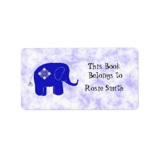 Bookplate lindo del elefante etiquetas de dirección