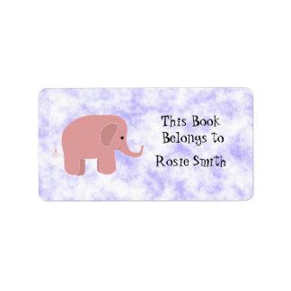 Bookplate lindo del elefante rosado etiqueta de dirección
