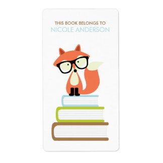Bookplate lindo del Fox rojo del inconformista Etiquetas De Envío