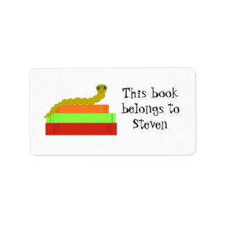 Bookplate lindo del ratón de biblioteca etiquetas de dirección