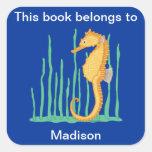 Bookplate lindo del Seahorse Colcomanias Cuadradass
