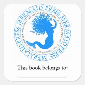 Bookplate literario de la cita de la sirena pegatina cuadrada