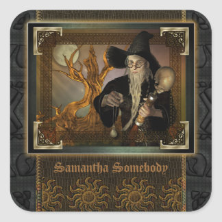 Bookplate mágico del ejemplo de la fantasía de los pegatina cuadradas