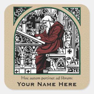 Bookplate medieval del escritorio y del monje colcomanias cuadradas