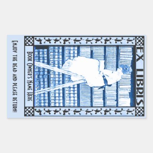 Bookplate moderno v2 del vintage pegatina rectangular