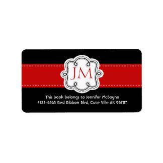 Bookplate negro y rojo personalizado de las señora etiqueta de dirección