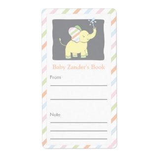 Bookplate neutral del elefante etiqueta de envío