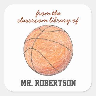 Bookplate personalizado baloncesto del regalo del pegatina cuadrada