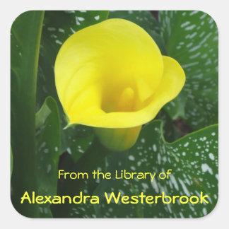 Bookplate personalizado cala amarilla pegatina cuadrada