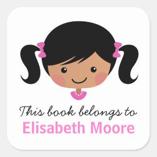 Bookplate personalizado chica lindo del dibujo pegatina cuadrada