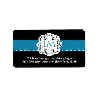 Bookplate personalizado de las señoras del negro y etiqueta de dirección
