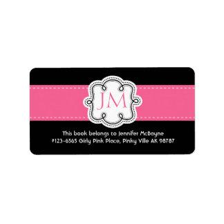 Bookplate personalizado de las señoras negras y ro etiqueta de dirección