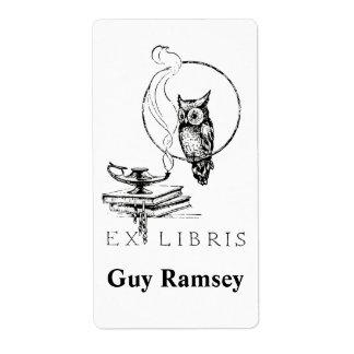 Bookplate personalizado del búho del vintage etiquetas de envío