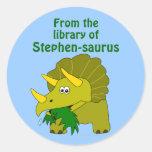 Bookplate personalizado dinosaurio lindo del etiquetas redondas