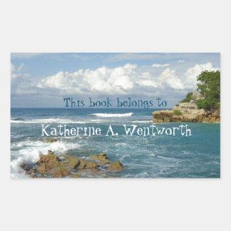 Bookplate personalizado paisaje marino de Labadie Pegatina Rectangular