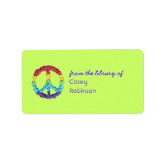 Bookplate personalizado signo de la paz etiquetas de dirección