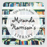 """Bookplate Personalized Label for Books<br><div class=""""desc"""">A colorful digital watercolor painting of a bookshelf--the perfect background for this personalized bookplate,  with modern black handwritten font.  Keep track of your library in style!</div>"""