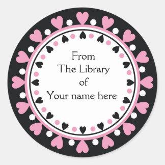 Bookplate - Pink Hearts white Polka Dots Classic Round Sticker